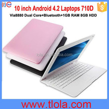 Wholesale 10 inch Via8880 Laptops with 1GB RAM 8GB HDD Bluetooth 710D