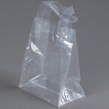 LDPE clear plastic soft loop bag poly loop handle square bottom packaging bag