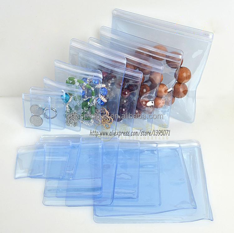Differ customized size clear ziplock jewel slider zipper jewellery bag