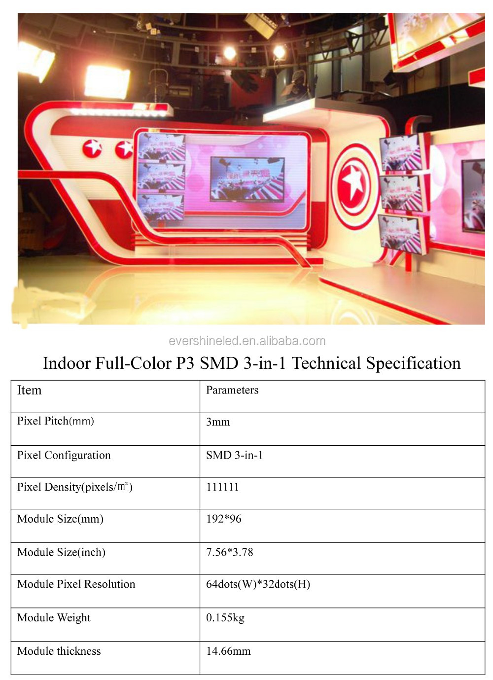 P3 16S SMD indoor led display full color for TV show