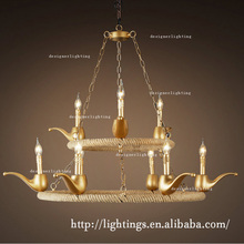 home lighting Industrial hemp rope round 2 layers golden tobacco pipe chandelier
