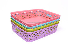wholesale rectangular plastic storage basket bread weaving plastic storage box