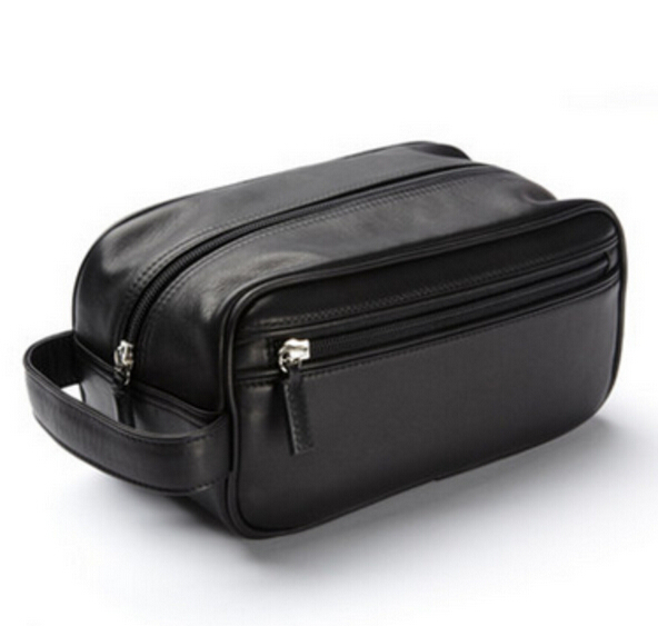 High quality Faux Leather PU leather Men make-up bag toilet bag for promotion
