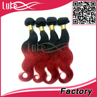 accept sample order ombre hair red Indian remy hair weave