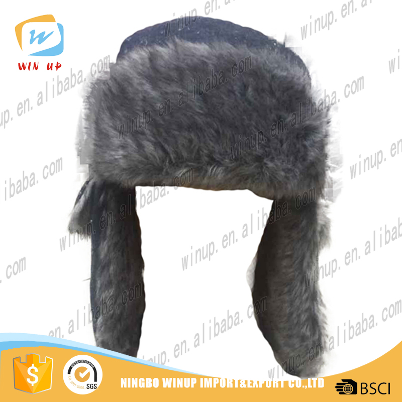 Russian style mens winter faux fur earflap hats