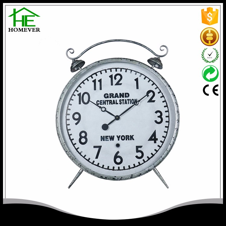 silver decoration retro vintage table clock for living room
