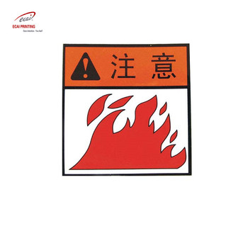 Note the warning label sticker,danger sign ,exit warning sign sticker