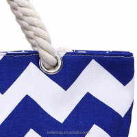 Can be Monogrammed Rope Handles Red Striped Canvas Beach Bag