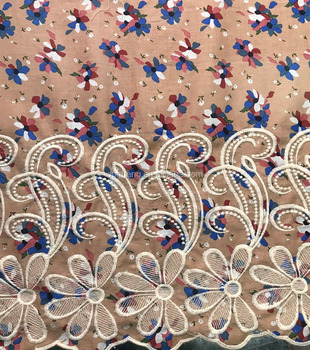 New design 2018 flower embroidered printed cotton voile fabric