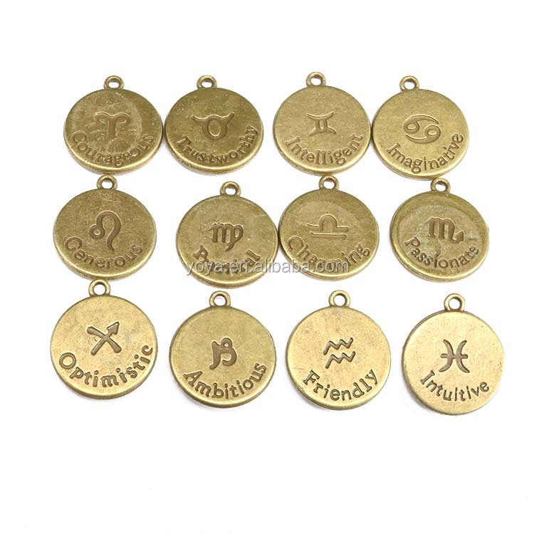 JS1331 High quality antique bronze horoscope <strong>charm</strong>,zodiac astrology pendant for birthday gift