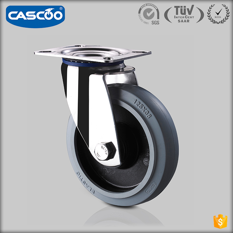 CASCOO European standard stainless steel casters Elastic Rubber caster wheel