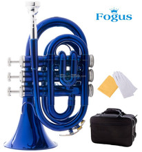 Focus Brand B Flat Blue Lacquered Standard Level Pocket/ Mini Trumpet With Case, Glove, Cleansing Cloth