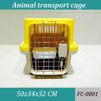 Portable and foldable plastic dog transport cage for dog travel application
