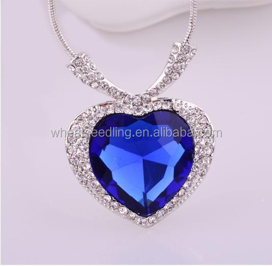 Austrian crystal necklace heart of ocean necklace