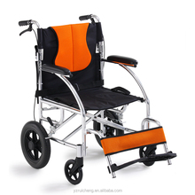 The Disabled Aluminium Alloy Folding Wheelchair with Footrests, Solid Castors and Large Rolling Rear Wheels for elderly--CE FDA