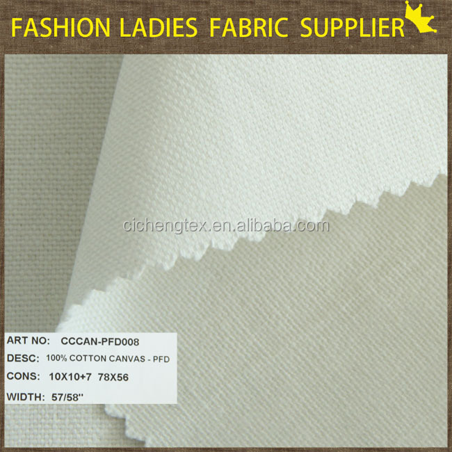 suit fabric with high quality in 100% cotton content plain weave PFD wholesale canvas fabric