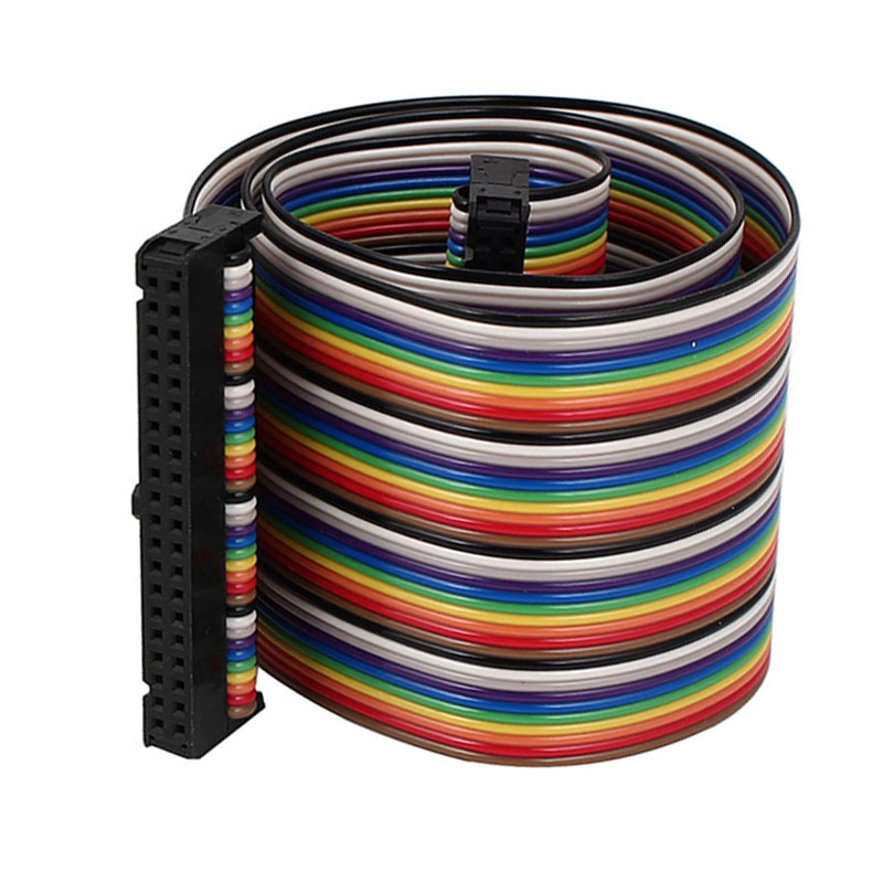 40 Pin 40 Way F F Connector IDC Flat Rainbow Ribbon Cable