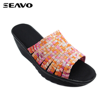 SEAVO SS18 cheap slip on design new wedges pink casual sandls for lady