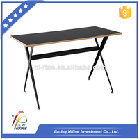 V shape cheap wooden designer computer desk metal legs frame