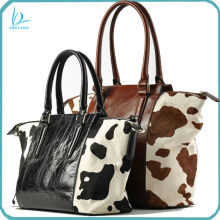 Beautiful elegant design luxury winter fashion lady calf cow hair leather handbag tote bag