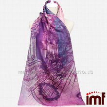 2014 new style ladies wool world map printing scarf