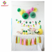 Summer party hanging paper fans flamingo paper bunting garland tassel garland