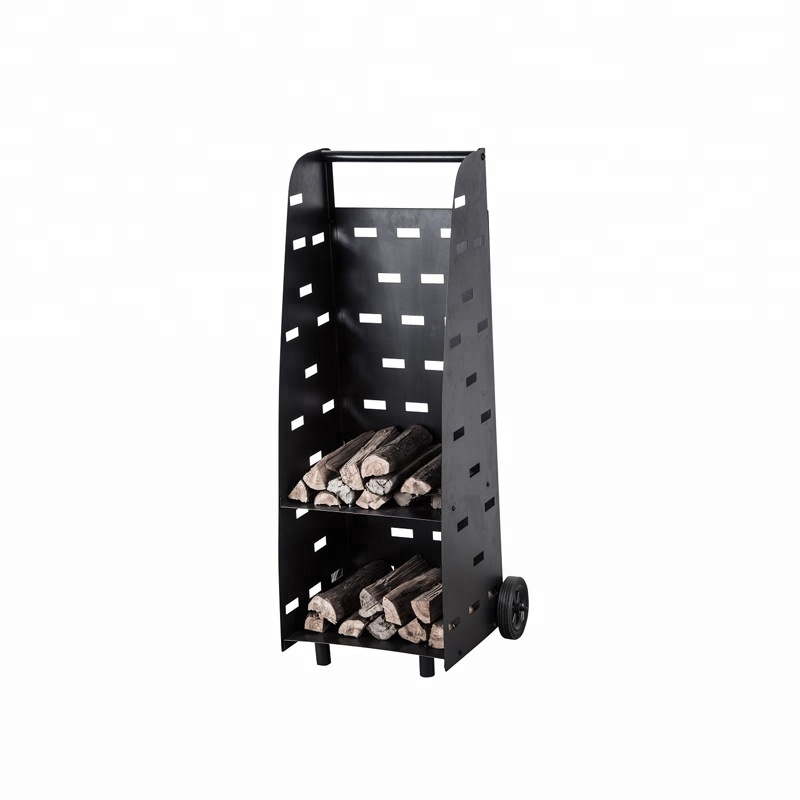 Outdoor wood carrying cart with wheel