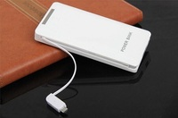 2016new arrival with 2 built LED light power bank charger, slim portable 8000mah fast power bank charging for the apple/andriod