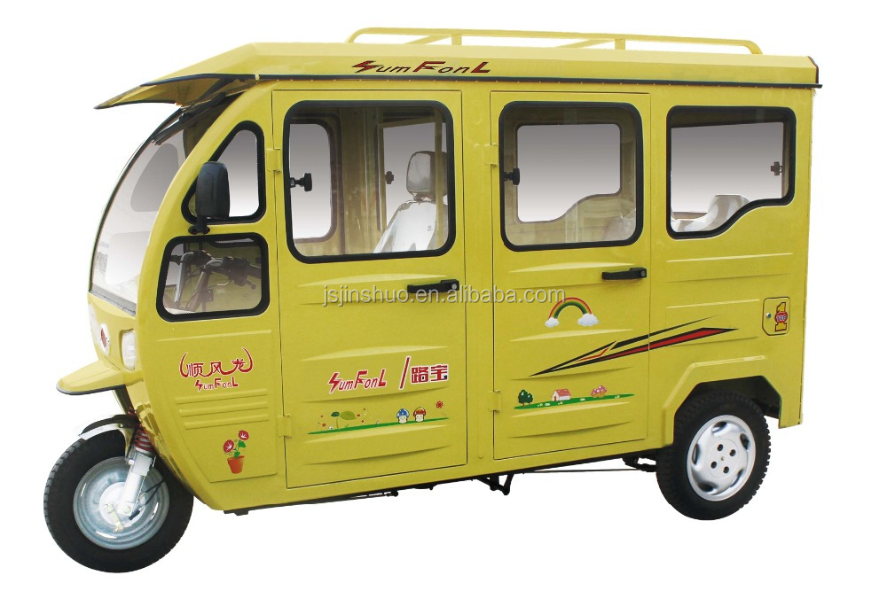 Enclosed Cabin 3 Wheel Motorized Tricycle On Sale / City Yellow Taxi Passenger Motorcycle