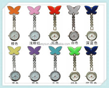 Pocket Medical Nurse Fob Watch Women Dress Watches 4 Colors Clip-on Pendant Hanging Quartz Clock Butterfly Shape Watch