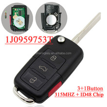High Quality 1j0 959 753 DT 1j0959753DT 3+1 button Flip remote key with 315MHZ id 48 chip for vw
