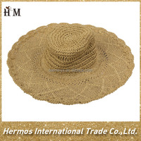 Hot selle hand make peper straw large brim beach summer crochet hat for girls ladies