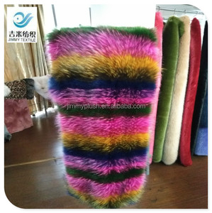 colorful knitted fabric raccoon fur jacquard and tip-dyed soft faux fur fabric