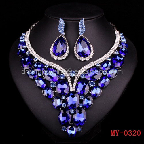 New Luxury Gold Plated Blue Crystal Sapphire Bridal Jewelry Set For Brides Necklace Earring Wedding Party Accessories For Women