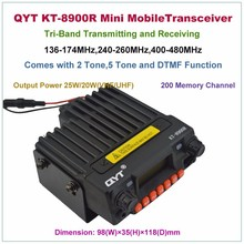 QYT KT-8900R Tri-band 136-174MHz & 240-260MHz & 400-480MHz 25W 200CH Removable FM Car Mobile Transceiver Radio