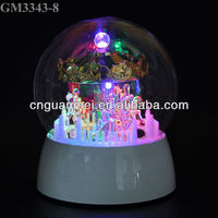 Wholesale dancing handicraft musical glass rotating Trojan horse with changing color