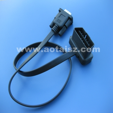 Flat cable OBD2 16Pin to DB9 Serial Port RS232 male adapter Cable
