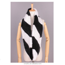 Classic design knitted mink fur infinity scarf ladies warm mink fur wraps handmade finest quality