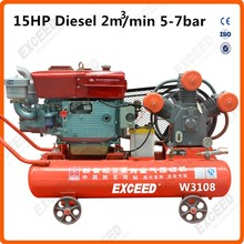 Mining portable piston diesel air compressors 15HP