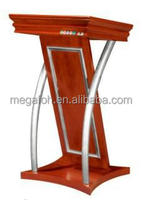 New Design Mahogany Pulpit/Speech Desk/Podium with Stainless Steel Timber(FOH-5)