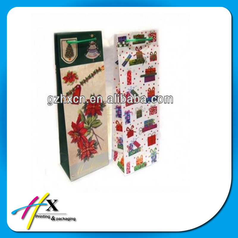 China supplier holiday wine bottle gift bags custom design paper bag