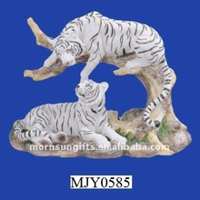 Polyresin White Tiger Statue of Resting Animal Figurine