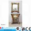 Special Decoration Bathroom Sink, Resin Sculpture Bath Vanity with Mirror, Rest Room Colored Glass Sink