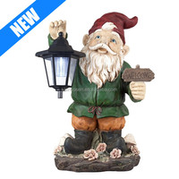 16 inch height outoddor decorative ceramic garden gnome with Lantern