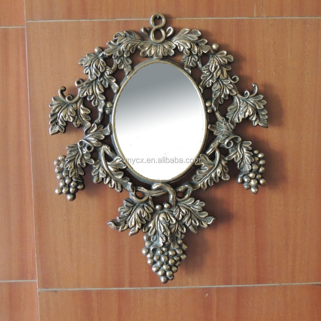 Antique gold ornate resin mirror for home bathroom decoration