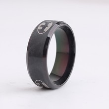 Drawing Bat Man black rings Stainless Steel Jewelry