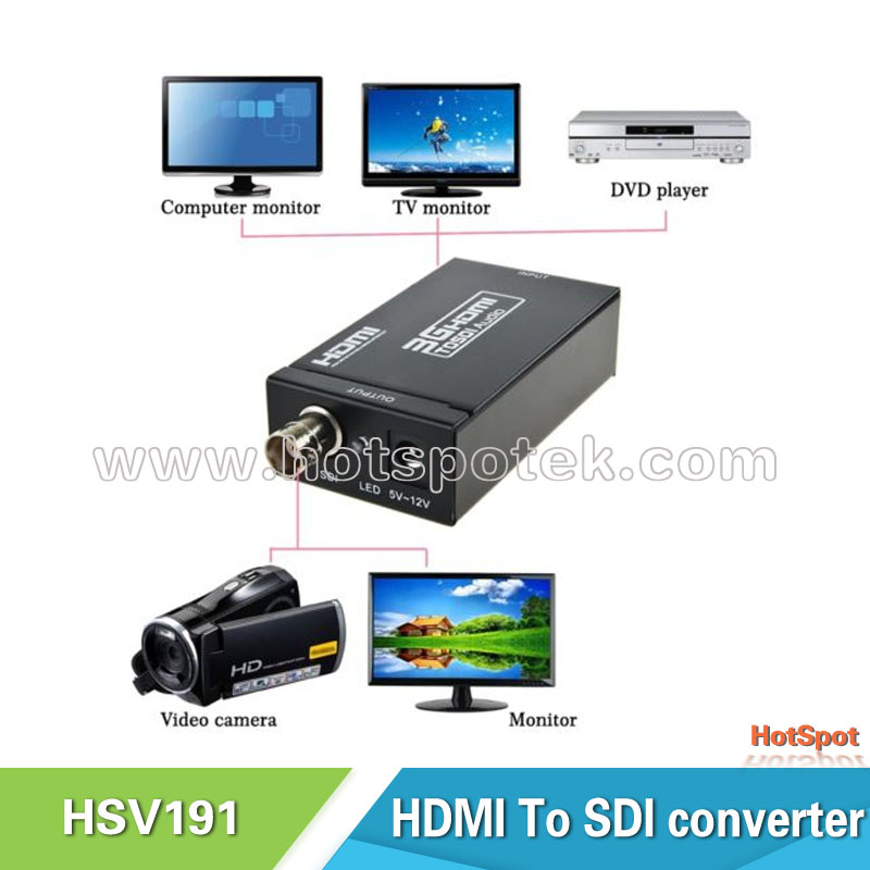 hdmi to hd-sdi/3g-sdi/sdi converter support upscale to 720p or 1080p for 1080p monitor projector