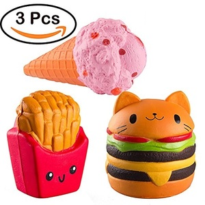 3pcs Pack Jumbo Slow Rising Squishies Kawaii Cat Hamburger Fries Ice Cream Scented Bread Hand Pillow Decompression Squeeze Toys
