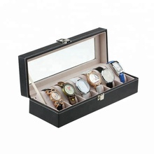 Wholesale Luxury Watches Display Cases Handmade Leather Watch Box 6 Slot With Window
