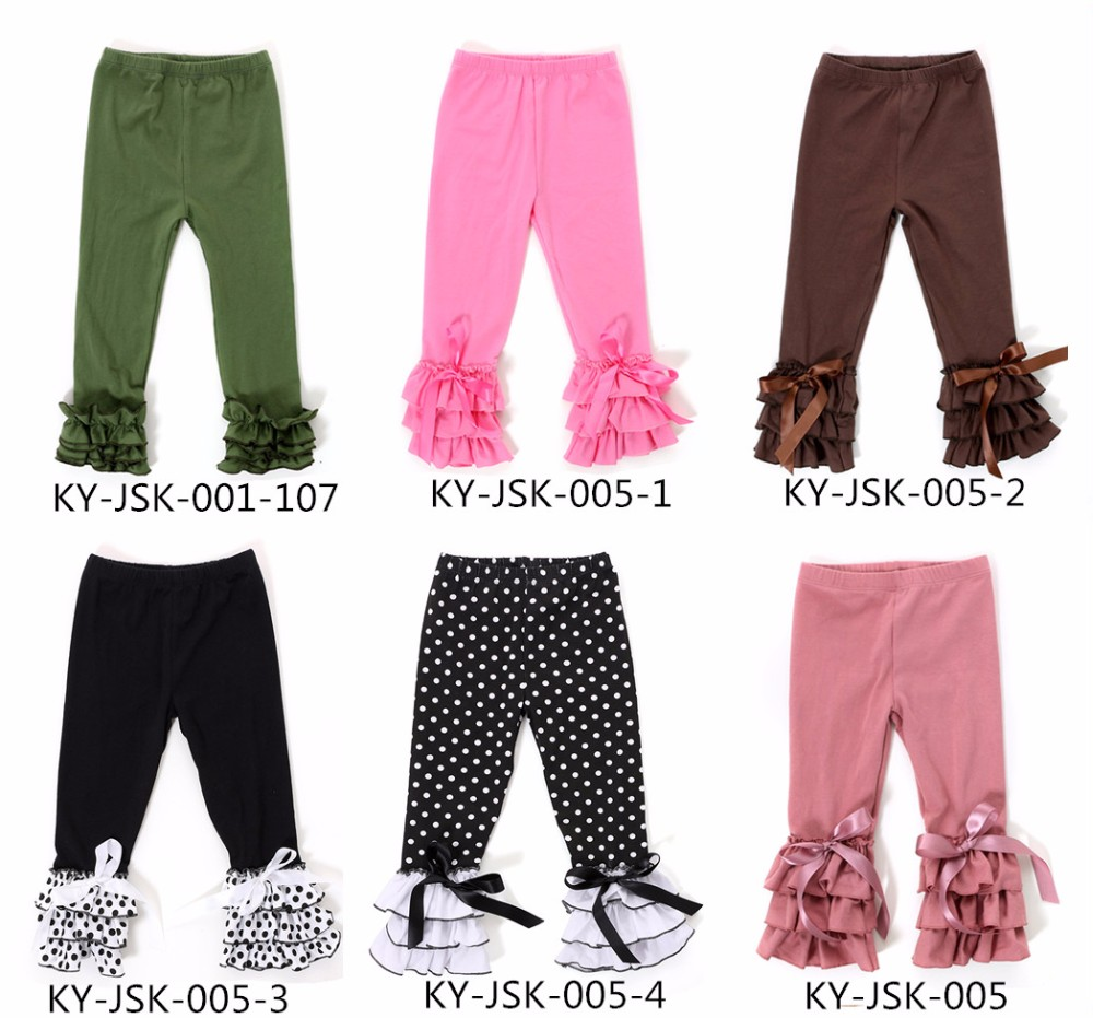 2017 baby girls ruffle icing baby legging with bow
